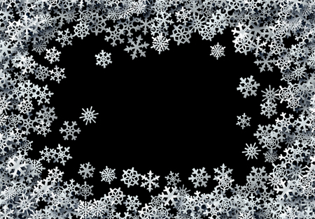 Illustration pour Christmas snowflakes scattered card for winter holidays with silver foil snow - image libre de droit