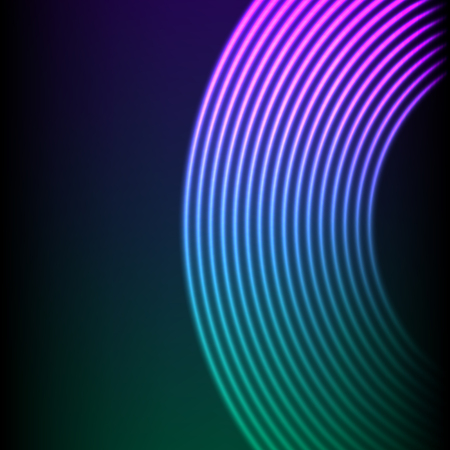 Photo for Vinyl grooves as neon lines background. 80s vapor wave style for dj mix cover - Royalty Free Image