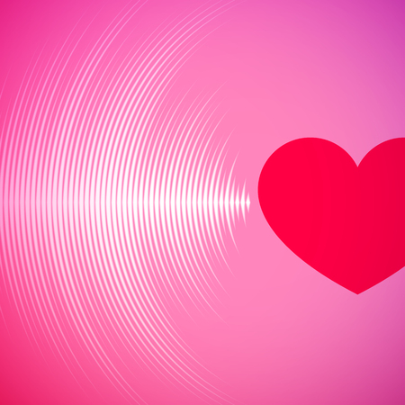 Photo for Valentine's Day card with pink vinyl tracks and red heart - Royalty Free Image