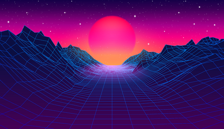 Ilustración de 80s synthwave styled landscape with blue grid mountains and sun over arcade space planet canyon - Imagen libre de derechos