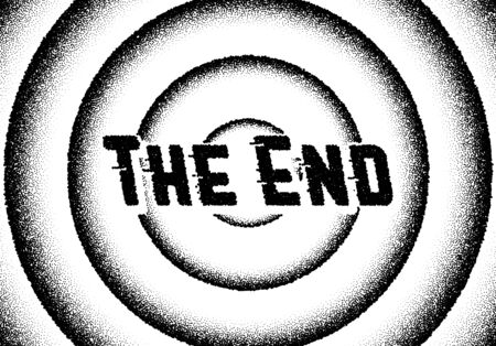 Illustration for The end movie titles with circles and retro stipple style - Royalty Free Image