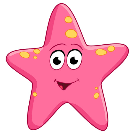 Illustration for spotted pink starfish is smiling - Royalty Free Image