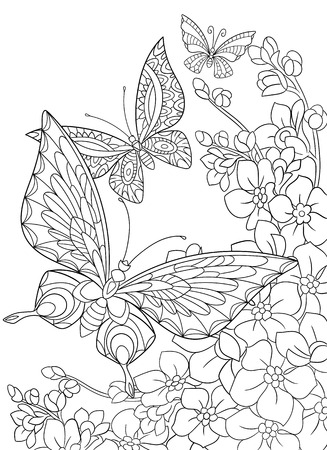 Illustration pour stylized cartoon butterfly and sakura flower isolated on white background. Sketch for adult antistress coloring page. floral, doodle, design elements for coloring book. - image libre de droit