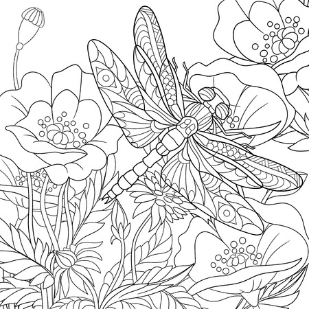 Illustration pour stylized cartoon dragonfly insect is flying around poppy flowers. Sketch for adult antistress coloring page.  doodle,  floral design elements for coloring book. - image libre de droit