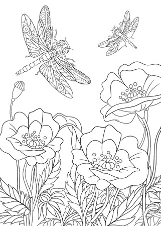Illustration pour stylized two cartoon dragonflies are flying around poppy flowers. Sketch for adult antistress coloring page. doodle,  floral design elements for coloring book. - image libre de droit