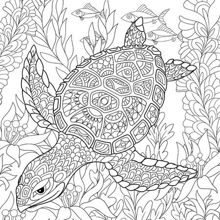 Illustration pour cartoon turtle swimming among sea algae. Hand drawn sketch for adult antistress coloring page, T-shirt emblem, or tattoo with doodle, floral design elements. - image libre de droit