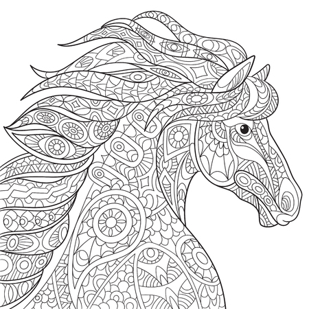 Illustration for cartoon horse (mustang), isolated on white background. Hand drawn sketch for adult antistress coloring page, T-shirt emblem, or tattoo with doodle, design elements. - Royalty Free Image