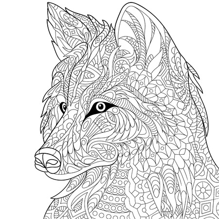 Illustration for stylized cartoon wolf, isolated on white background. Hand drawn sketch for adult antistress coloring page, T-shirt emblem, tattoo with doodle, floral design elements. - Royalty Free Image