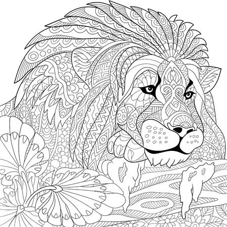 Illustration for stylized cartoon lion (wild cat, leo zodiac) - Royalty Free Image