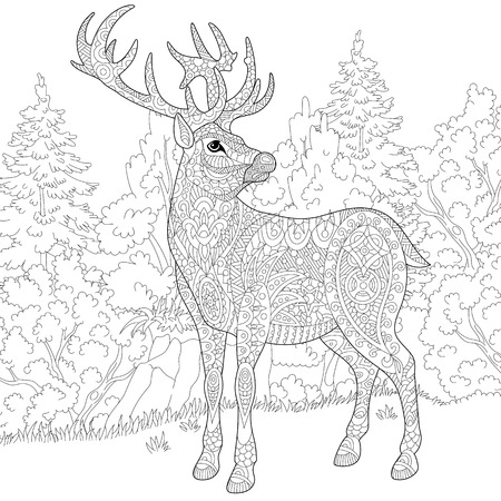 Illustration pour stylized cartoon deer (stag, christmas reindeer).  sketch for adult antistress coloring book page, T-shirt emblem, or tattoo with doodle, and floral design elements. - image libre de droit