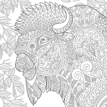 Stylized buffalo (american bison, bull, ox, yak, aurochs) among birch tree leaves. Freehand sketch for adult anti stress coloring book page with doodle elements.