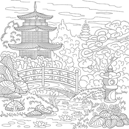 Illustration pour Stylized oriental temple - japanese or chinese tower pagoda. Landscape with trees, lake, stones, flowers. Freehand sketch for adult anti stress coloring book page with doodle  elements. - image libre de droit