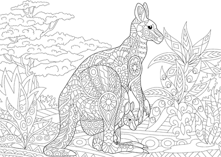 Ilustración de Stylized australian kangaroo family - mother and her young cub in jungle landscape. Freehand sketch for adult anti stress coloring book page with doodle and zentangle elements. - Imagen libre de derechos