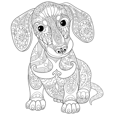 Illustration pour Coloring book page of dachshund puppy dog, isolated on white background. Freehand sketch drawing for adult antistress colouring with doodle and zentangle elements. - image libre de droit