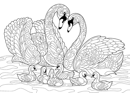 Ilustración de Coloring book page of swan birds family. Freehand sketch drawing for adult antistress colouring with doodle and zentangle elements. - Imagen libre de derechos