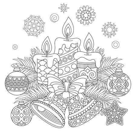 Illustration pour Christmas coloring page with Holiday decorations vector illustration - image libre de droit