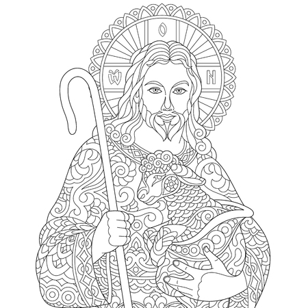 Illustration pour Jesus Christ and newborn baby sheep. Portrait of christian biblical character. Coloring page for adult coloring book. Anti-stress freehand sketch drawing with doodle and elements. - image libre de droit
