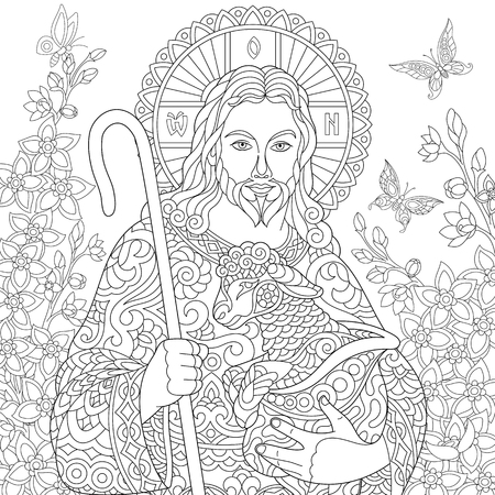 Illustration pour Jesus Christ with a lamb. Portrait of christian biblical character with floral background. Easter Coloring Page. Coloring Book. Anti-stress freehand sketch drawing with doodle  elements. - image libre de droit