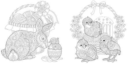 Illustration pour Easter Bunny and newborn Baby Chickens. Easter Coloring Page with floral basket, eggs and cake. Coloring Book. Anti-stress freehand sketch drawing with doodle elements. - image libre de droit