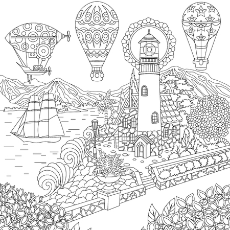 Illustration pour Lighthouse. Sailing ship. Dirigible. Hot air balloons. Coloring page. Colouring picture. Coloring book. Freehand sketch drawing. Vector illustration. - image libre de droit