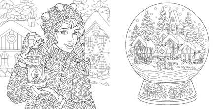 Illustration pour Coloring Pages. Coloring Book for adults. Colouring pictures with winter girl and magic snow ball. Antistress freehand sketch drawing with doodle and  elements. - image libre de droit
