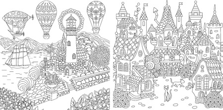 Illustration pour Coloring Pages. Coloring Book for adults. Colouring pictures with light house and fairy tale castle. Antistress freehand sketch drawing with doodle and zentangle elements. - image libre de droit