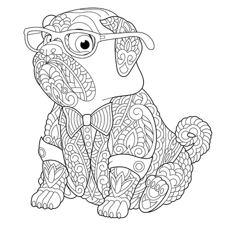 Ilustración de Coloring page. Coloring book. Anti stress colouring picture with pug dog. Freehand sketch drawing with doodle elements. - Imagen libre de derechos
