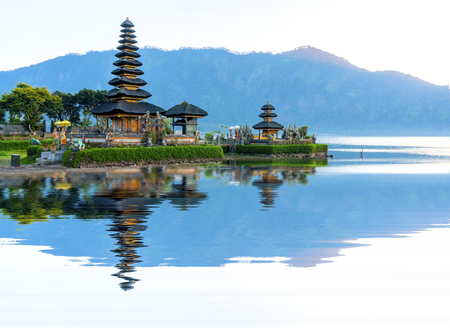 Photo for Pura Ulun Danu temple panorama at sunrise on a lake Bratan, Bali, Indonesia - Royalty Free Image