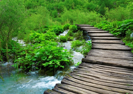 Wooden path and waterfall in Croatia