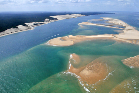 Foto de aerial plane view of bassin Arcachon near bordeaux in France with dune du pyla - Imagen libre de derechos
