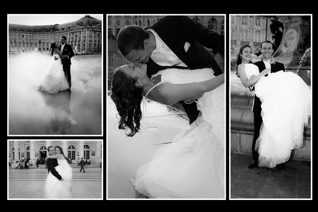 Photo pour a black and white photo montage of a married couple in the city of Bordeaux in France - image libre de droit