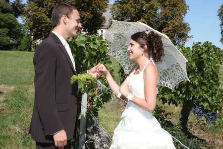 Photo pour bride and groom on the background of vineyards - image libre de droit