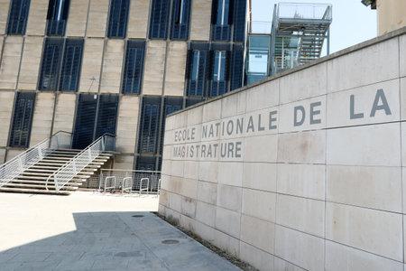 Photo pour Bordeaux, Nouvelle aquitaine / France - 09 02 2018 : Ecole nationale de la magistrature in Bordeaux means the high National School of Magistracy in france - image libre de droit