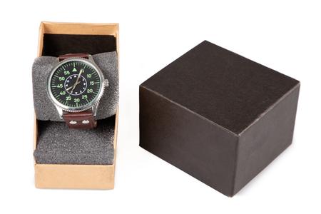 Photo pour Vintage man clock watch in gift box on white background - image libre de droit