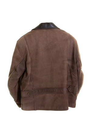 Photo pour Classic brown used leather bikers jacket shot from rear back view - image libre de droit