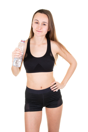 Photo pour girl with water bottle concept of healthy nutrition and sport lifestyle isolated over white background - image libre de droit