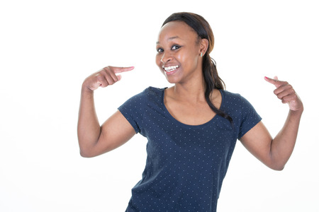 Photo for african american pretty young woman over isolated background looking confident with smile on face pointing oneself with fingers proud and happy - Royalty Free Image