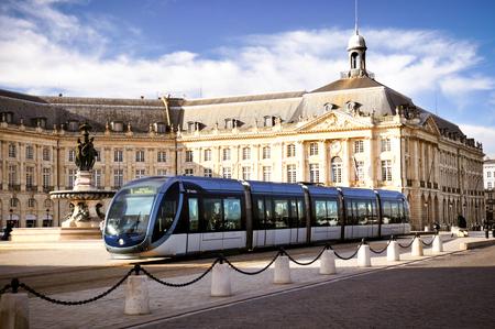 Photo pour Bordeaux , Aquitaine / France - 10 17 2019 : City tram in Place de la bourse in Bordeaux, France - image libre de droit