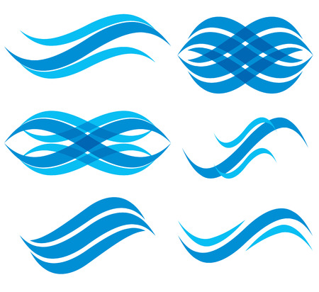 Wave symbols set, vector.
