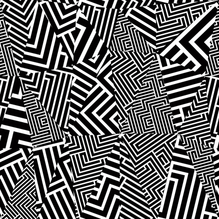 Illustration pour Geometric optical seamless pattern, black and white vector background. - image libre de droit