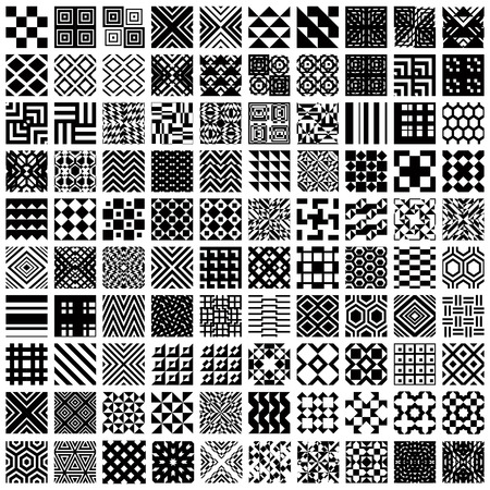 Illustration for 100 geometric seamless patterns set, black and white vector backgrounds collection. - Royalty Free Image