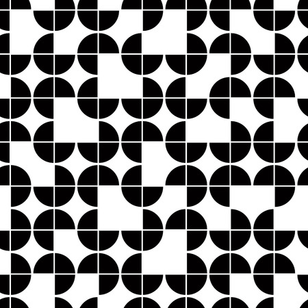 Ilustración de Seamless geometric pattern with monochrome elements, vector abstract background.  - Imagen libre de derechos