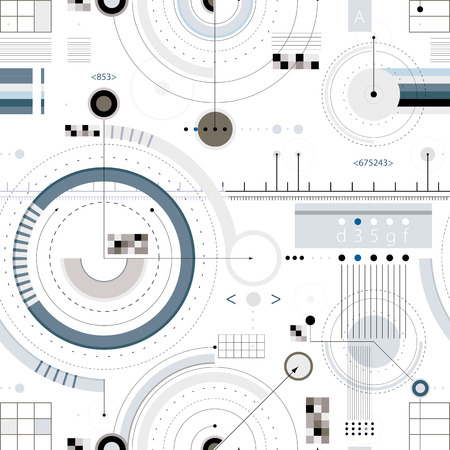 Ilustración de Engineering draft seamless pattern, geometric vector wallpaper or website background. - Imagen libre de derechos