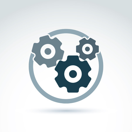 Ilustración de Vector illustration of an organization system, strategy concept. Cog-wheels and gears placed in a circle, service icon. Business and manufacturing process theme.  - Imagen libre de derechos
