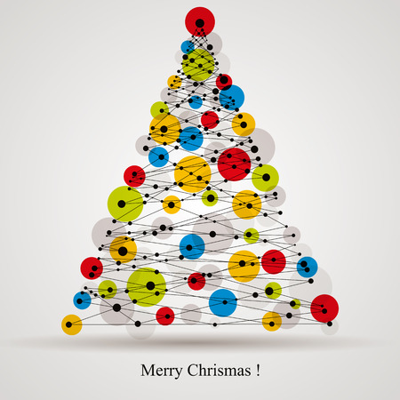 Illustration for Christmas background with modern digital style Christmas tree, vector card. - Royalty Free Image