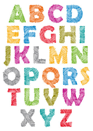 Illustration for Hand drawn and sketched font, doodle childish style. - Royalty Free Image
