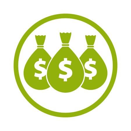 Illustration pour Money icon with three bags, vector. - image libre de droit