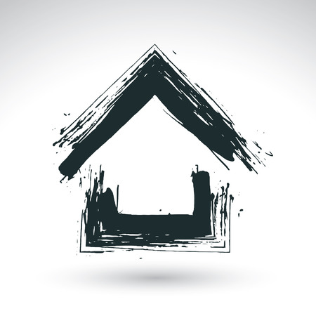 Illustration for Hand drawn blue country house icon, estate logotype, simple cottage sign, hand-painted house symbol created with real ink brush isolated on white background. - Royalty Free Image