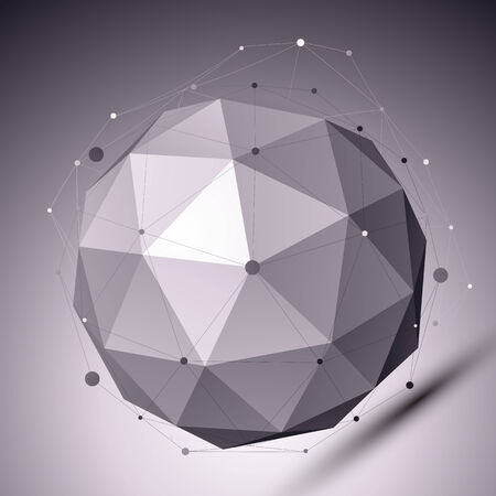Illustration for 3D abstract spherical object with lines and dots over dark background. Contrast backdrop with wireframe imposed over globe. - Royalty Free Image