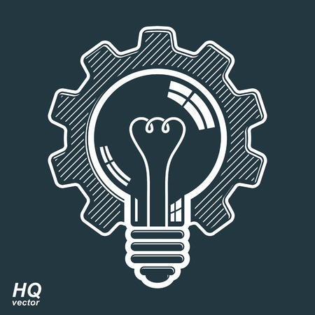 Illustration pour Vector light bulb shape, high quality cog wheel. Technical solution symbol, manufacturing and business idea icon, retro graphic gear. Industry innovation design element. - image libre de droit
